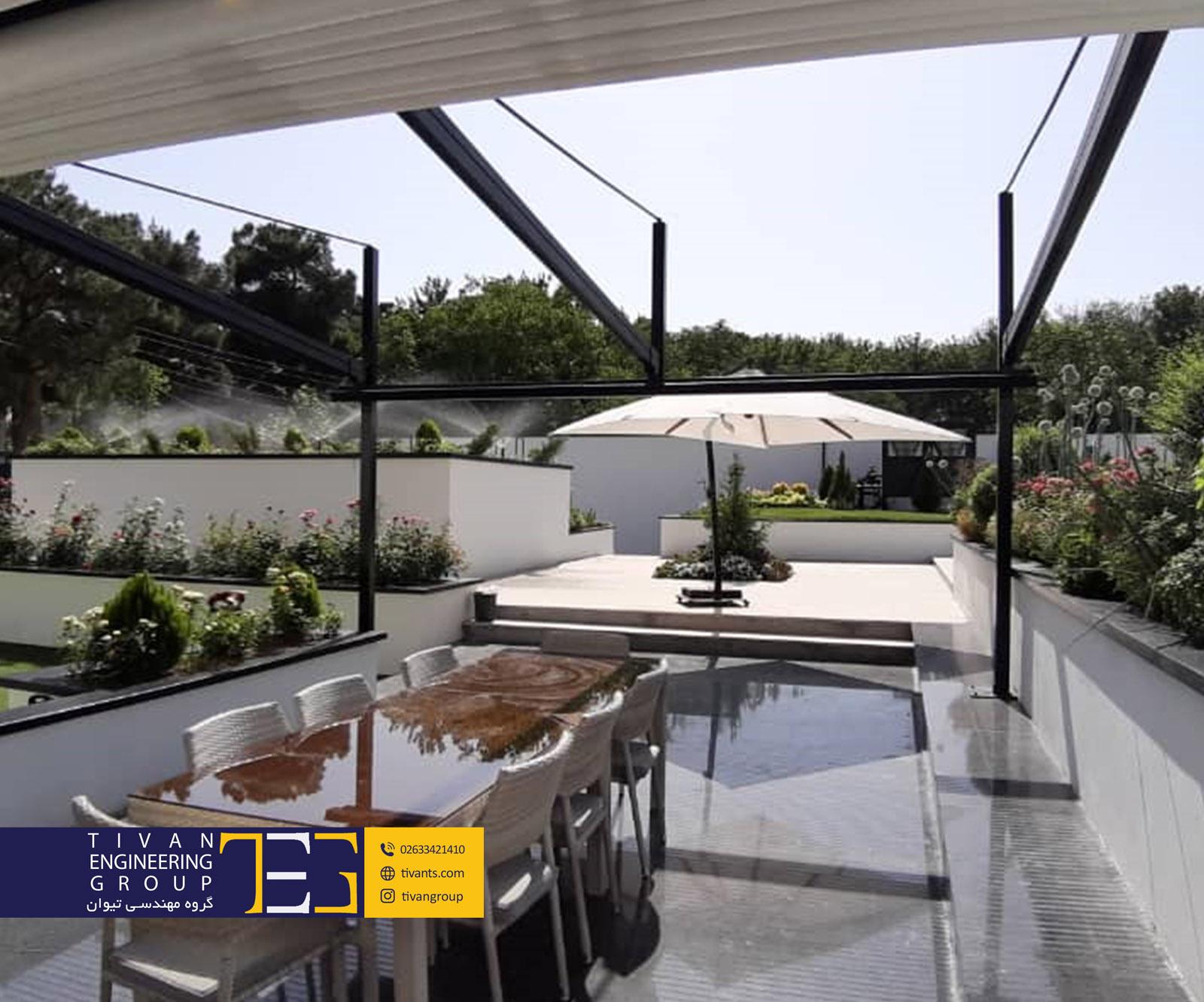 سقف متحرک برقی در حیاط ویلا زیبادشت شمالی کرج