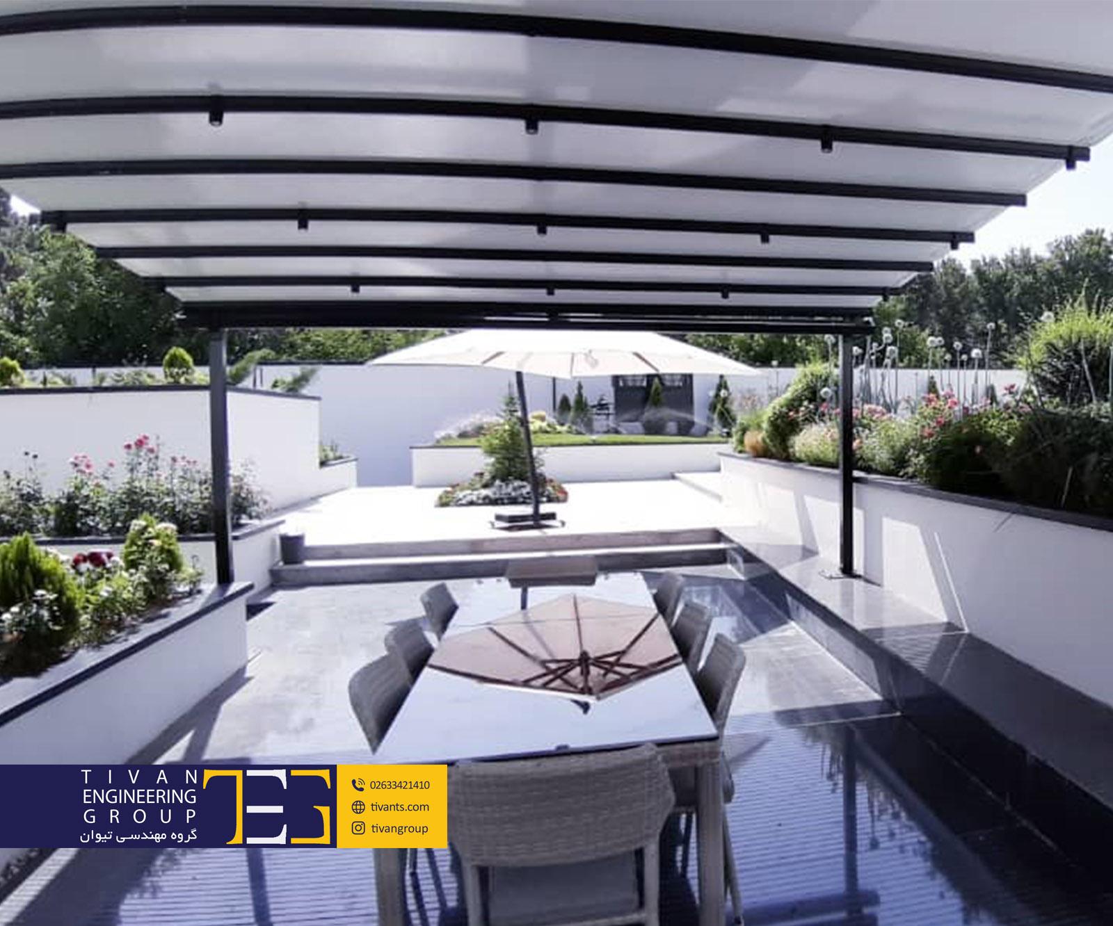 سقف متحرک استخر ویلا زیبادشت کرج