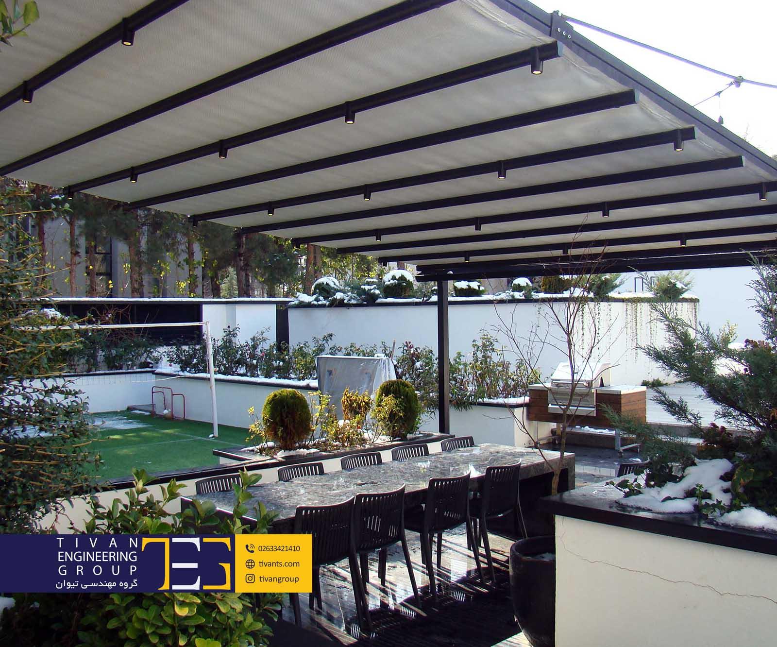 سقف متحرک استخر در ویلا زیبادشت گروه مهندسی تیوان