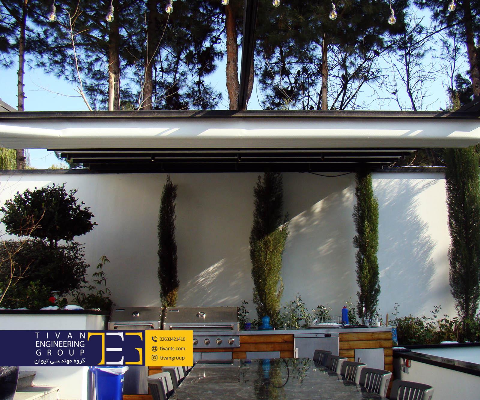 سایبان متحرک برقی در حیاط ویلا زیبادشت البرز