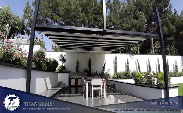 سقف متحرک استخر ویلا