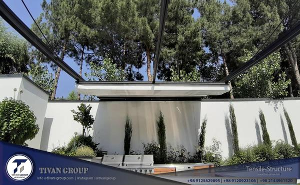 سقف متحرک استخر سازه های پارچه ای تیوان