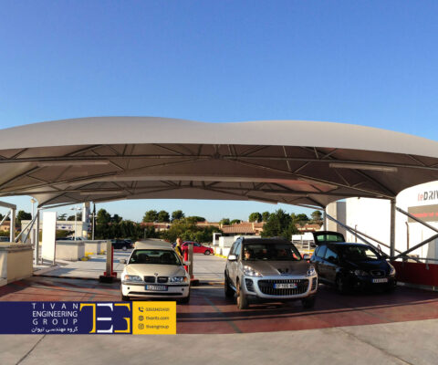 سایبان پارکینگ بزرگ برای چندین ماشین