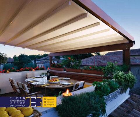 سازه کششی و سقف متحرک برای نشیمن در حیاط