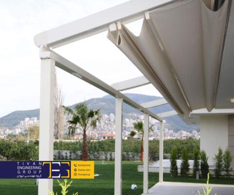 سازه جمع شو برای ورودی خانه در ویلا کردان کرج