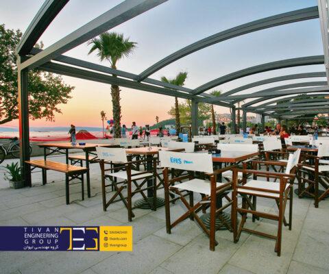 سقف متحرک پارچه ای برای رستوران در تهران