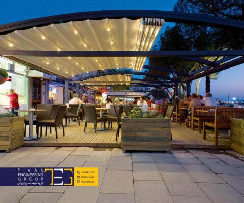سقف متحرک برقی کافه رستوران در مازندران
