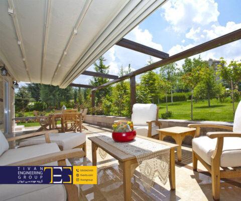 سازه پارچه ای متحرک برای حیاط و ویلا کرج