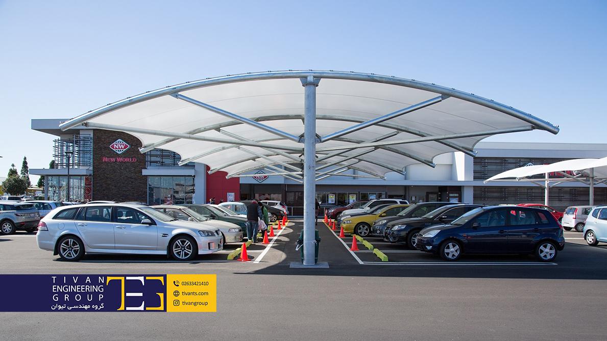 سایبان پارکینگ با طراحی عالی و منحصربفرد شرکت تیوان