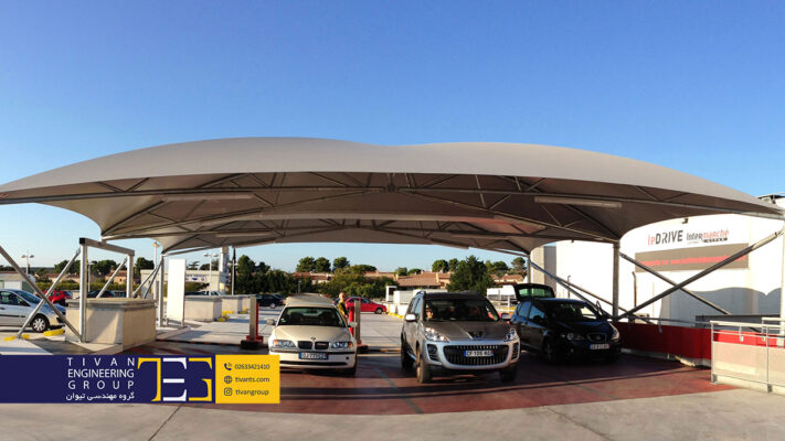 سایبان پارکینگ ماشین در ابعاد بزرگ و با کیفیت