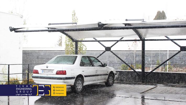 ساخت سایبان پارچه ای پارکینگ در ویلا آبعلی