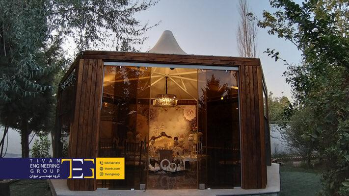 آلاچیق پارچه ای تالار باغ شکوفه در تهران