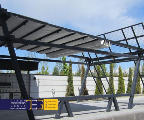 سقف متحرک پارچه ای حیاط در ویلا محمد شهر کرج
