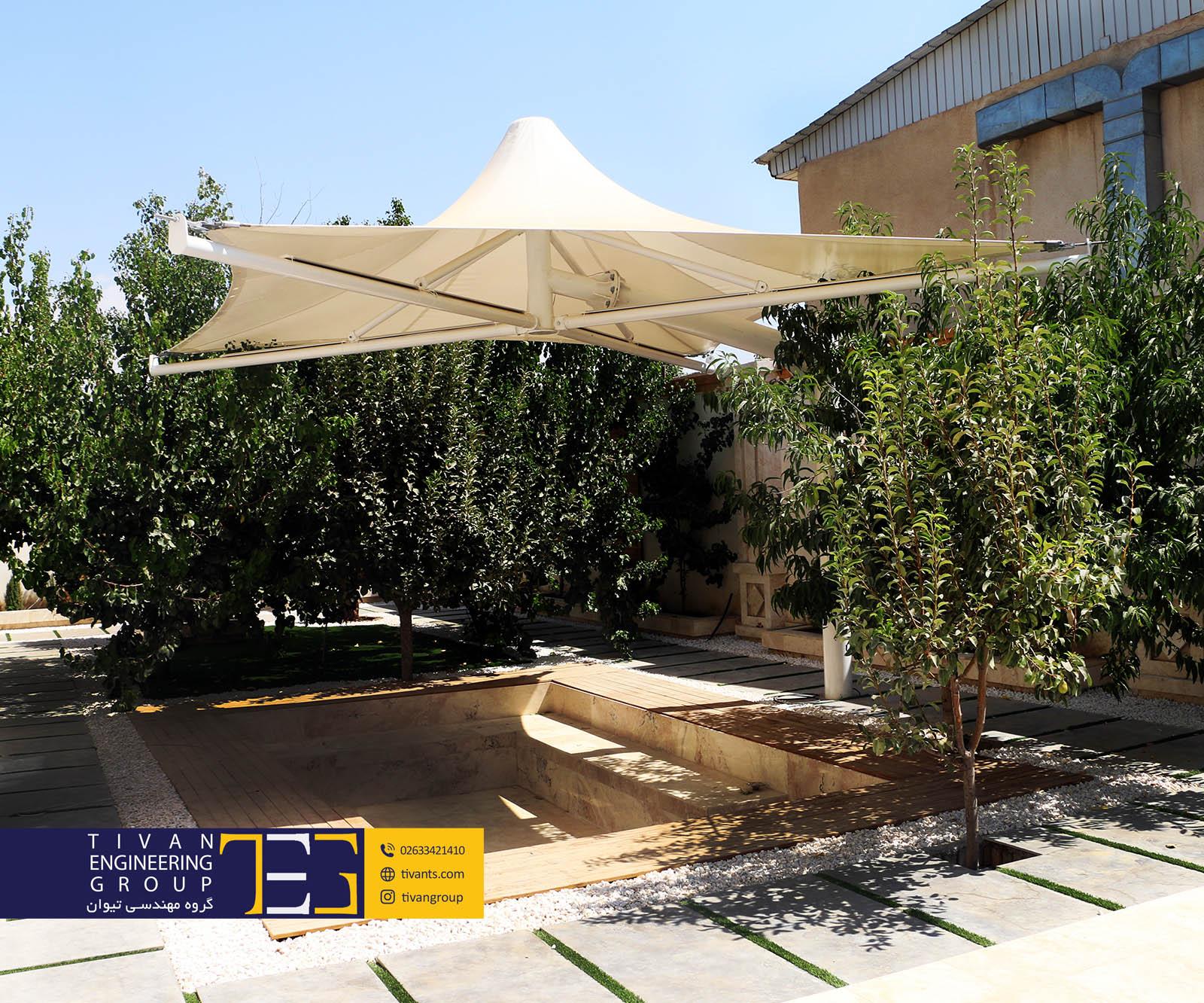 سایبان ویلا در حیاط کرج فرم خیمه