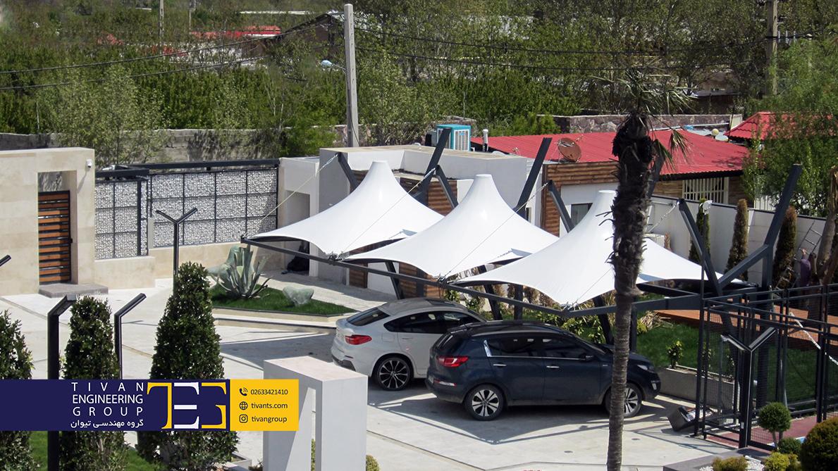 سایبان پارکینگ و سایبان ماشین در حیاط خانه در محمدشهر کرج