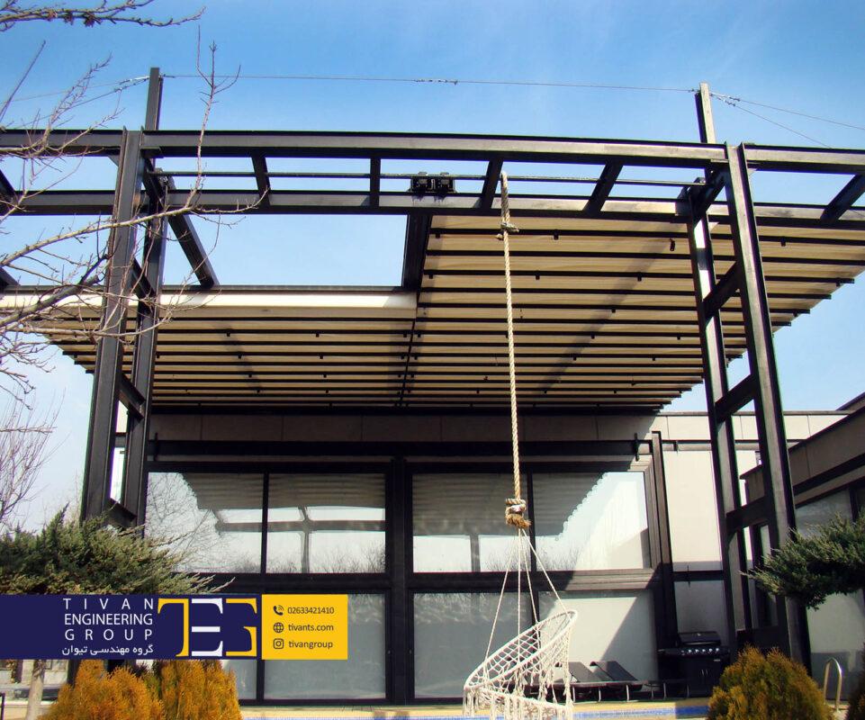 سازه چادری متحرک برقی استخر ویلا در شهریار