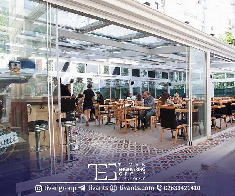 سقف متحرک شیشه ای گروه مهندسی تیوان