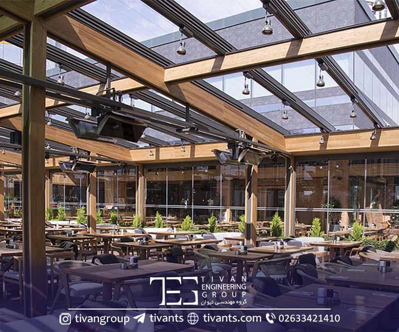 سقف متحرک رستوران فضای باز