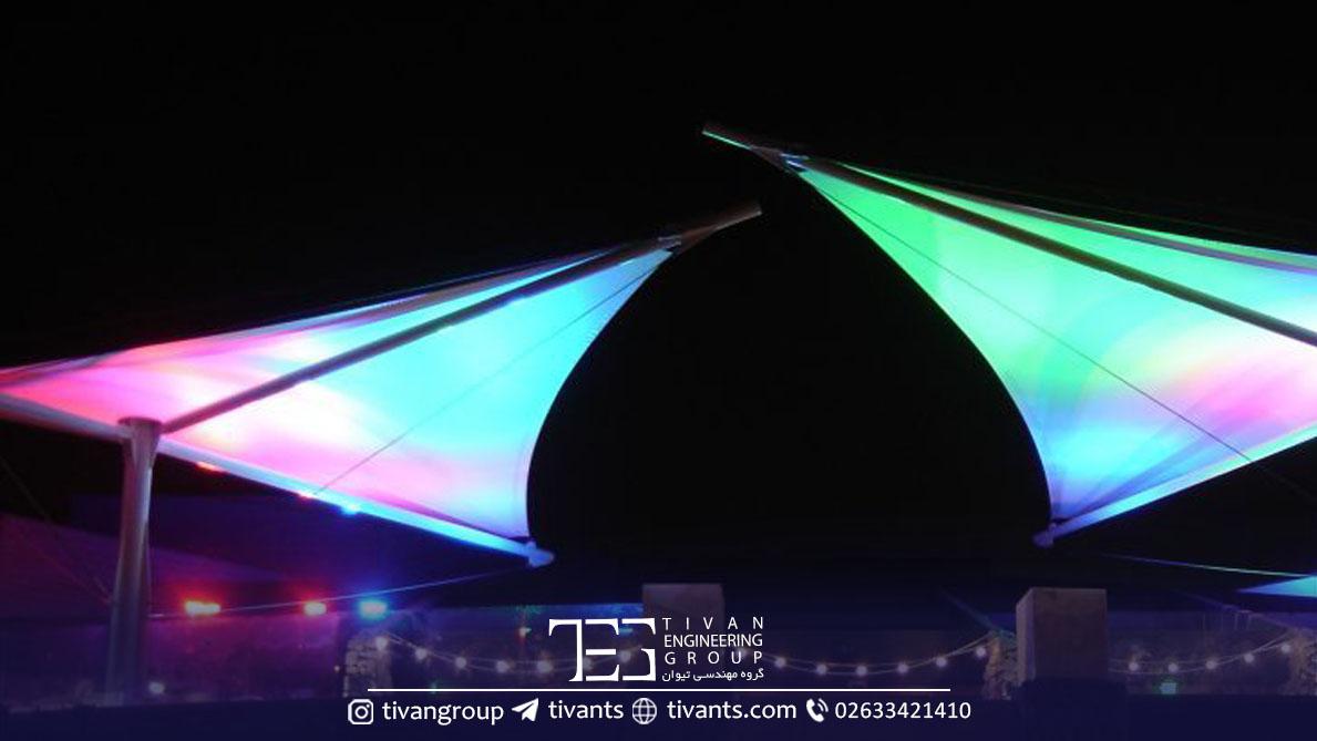 نورپردازی و زیبایی سازه چادری در ایران